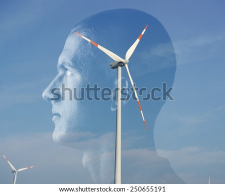Man and green energy concept - stock photo