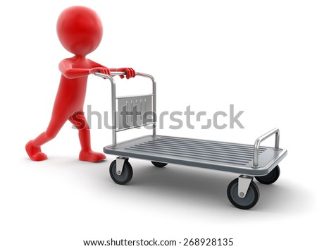 Man and Handtruck (clipping path included) - stock photo