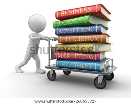 Man and Handtruck with Business books (clipping path included) - stock photo