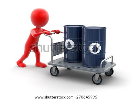 Man and Handtruck with Oil Drums (clipping path included) - stock photo