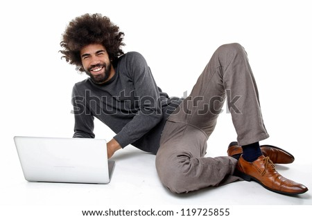 man and his laptop - stock photo