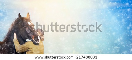 Man and  horse in sunny winter on snowfall, banner for website - stock photo