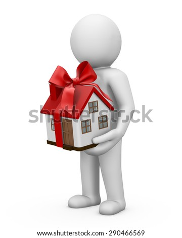 Man and House as a gift for you 3d render