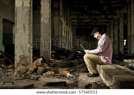 man and laptop - stock photo