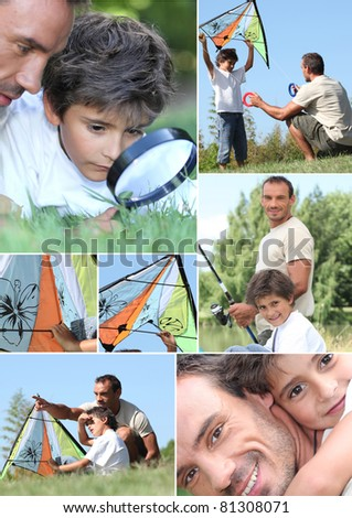 Man and little boy with kite - stock photo
