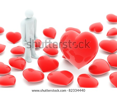 Man and many beautiful red hearts on white background