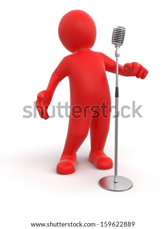 Man and Microphone (clipping path included) - stock photo