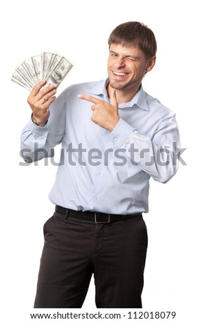 Man and money.Businessman.Man winks and indicate to money White background.  - stock photo