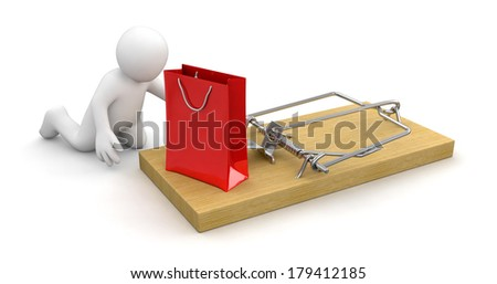 Man and Mousetrap with bag (clipping path included) - stock photo
