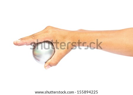 Man and petanque ball in hand on white background - stock photo