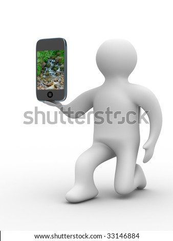 man and phone. Isolated 3D image - stock photo