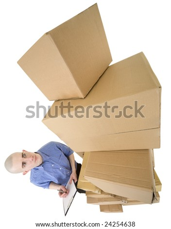 Man and pile cardboard boxes on white - stock photo