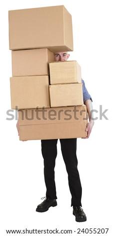 Man and pile carton boxes - stock photo
