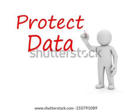 man and protect data - stock photo