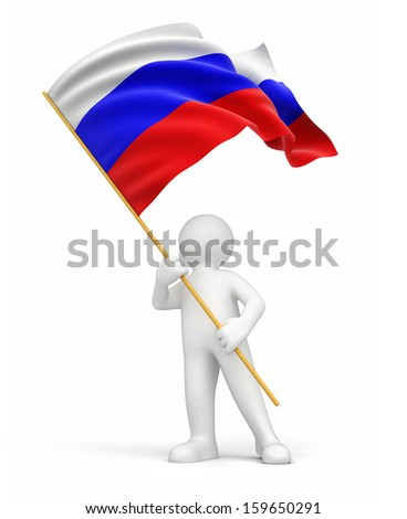 Man and Russian flag (clipping path included) - stock photo