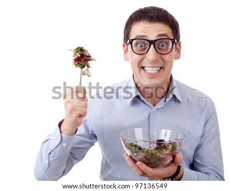 Man and salad - stock photo