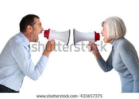 man and senior woman arguing isolated on white - stock photo