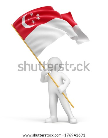 Man and Singapore flag (clipping path included) - stock photo