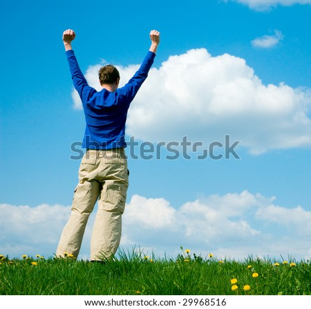 man and sky - stock photo