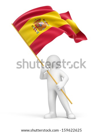 Man and Spanish flag (clipping path included) - stock photo