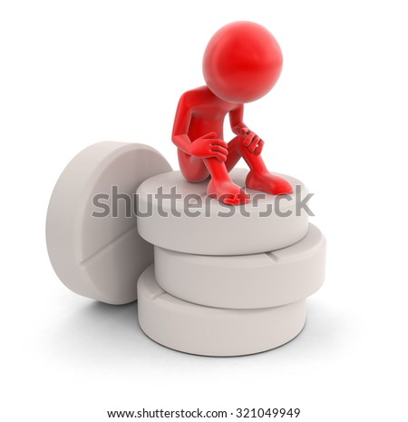 Man and tablets (clipping path included) - stock photo