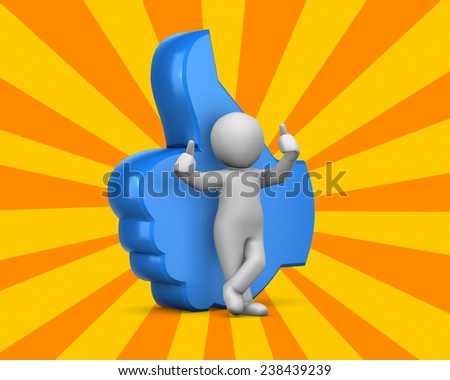 man and thumbs up like icon ,social media - stock photo