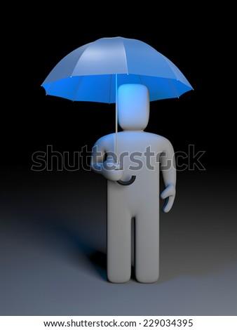 Man and umbrella - stock photo