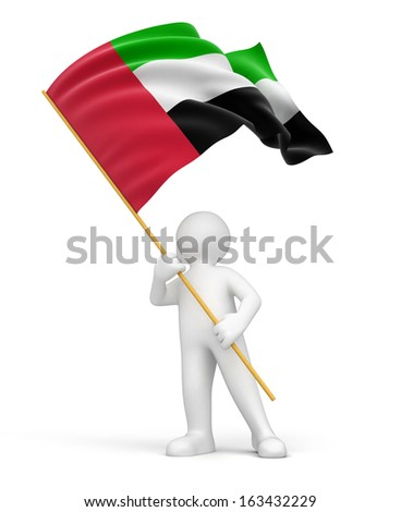 Man and United Arab Emirates flag (clipping path included) - stock photo