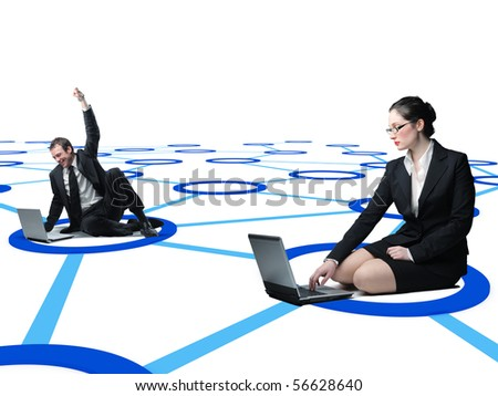 man and woma use laptop on virtual 3d web connection - stock photo