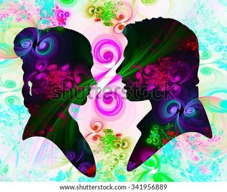 Man and Woman abstract illustration - stock photo