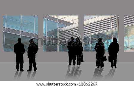 Man and woman are waiting on airport - stock photo