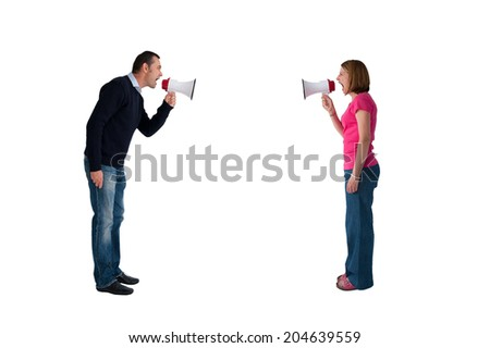 man and woman arguing using megaphone bullhorn isolated on white - stock photo