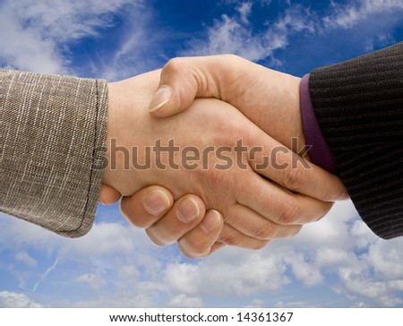 Man and woman business handshake