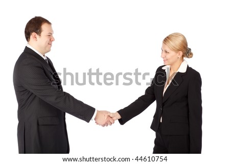 Man and woman business handshake on white background - stock photo