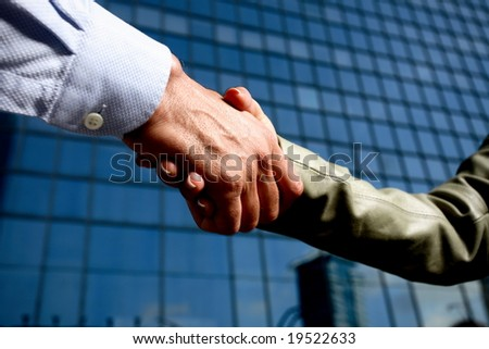 man and woman business team shaking hands - stock photo