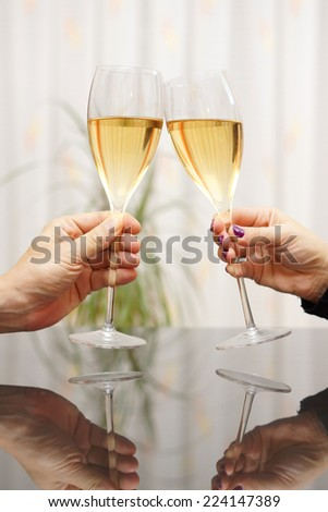 Man and woman celebrating with wine - stock photo