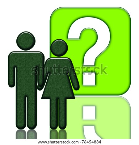 Man and woman close with a question mark, illustration for a wide range of topics (sociological, psychological, educational, business or everyday issues) - stock photo