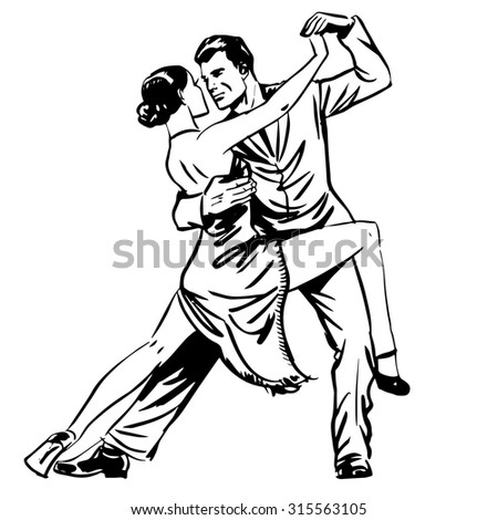 Man and woman dancing couple tango retro line art. Man and woman dancing couple tango retro line art. Graphics the emotions of love and hobby - stock photo