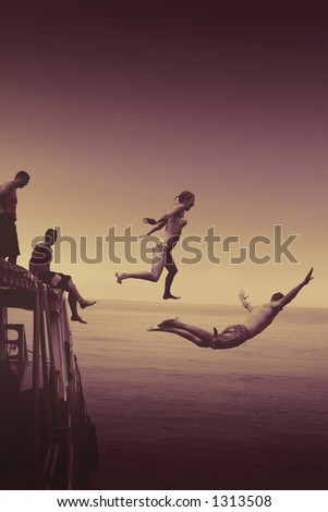man and woman diving of boat