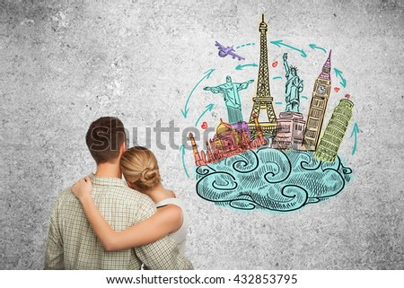 man and woman dreams a travel, drawing travel concept on wall - stock photo