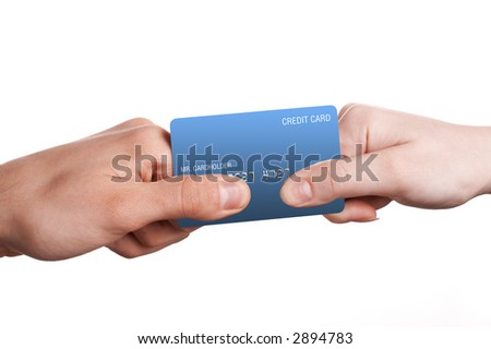 Man and woman duel for blue credit card. Isolated white. - stock photo
