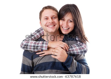 Man and woman embrace isolated on a white background closeup