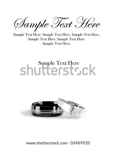 Man and Woman Engagement Rings with Sample Text Space Above - stock photo