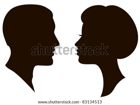 man and woman faces profiles - stock photo