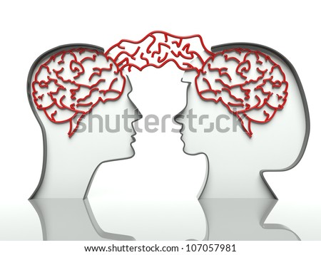 Man and woman faces profiles with connected brains, concept of communication