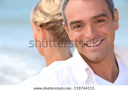 Man and woman from the back - stock photo