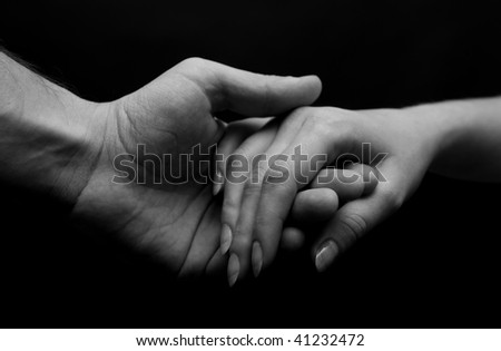 Man and woman hands. B&W