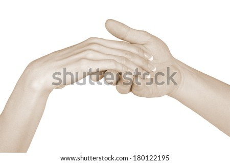 Man and woman hands isolated on white background.