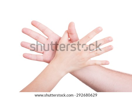 Man and woman hands reaching each other isolated on white background - stock photo