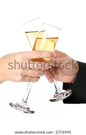 Man and woman hands toasting with champagne.